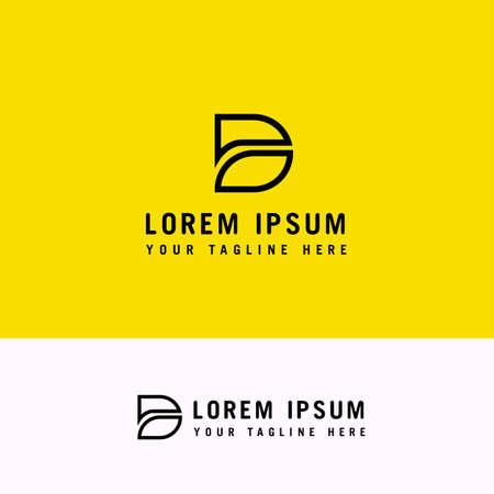 D letter logo, minimal line design, business icon