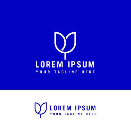 Tulip flower line art. Minimalist line artwork Logo design concept template.