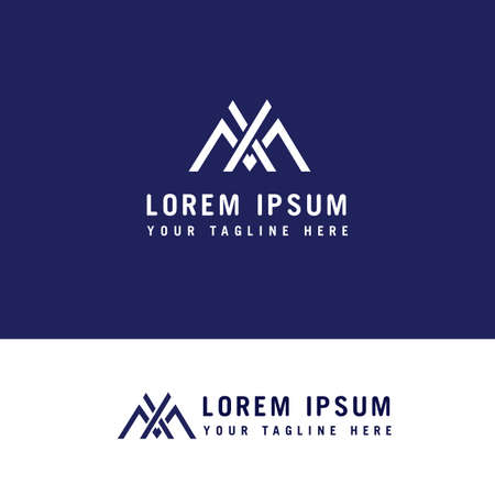letter xm simple line symbol vector Logo design concept template.