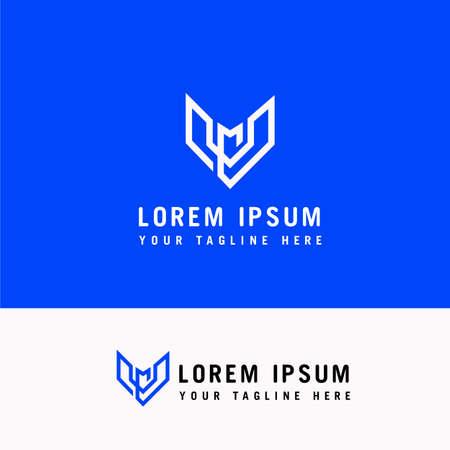 Letter V and M Line Arrow Logo Design Element Ilustração