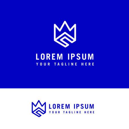 C crown logo icon , creative and minimal line art Ilustração