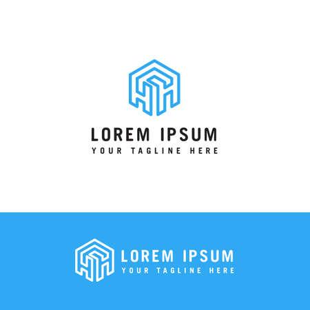 hexagon letter h line Logo design concept template. Ilustração
