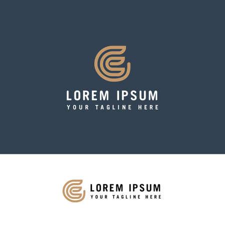creative simple initial letter e lines color circle logo concept Ilustração