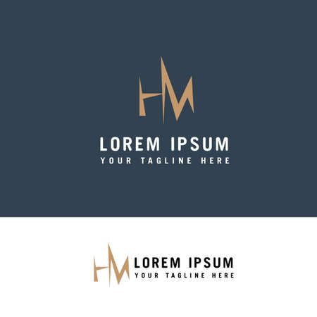 MH Logo design. M and H in modern flat style Logo design concept template.