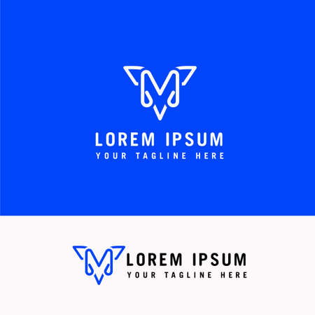 Line art M letter company logo icon vector design Ilustração