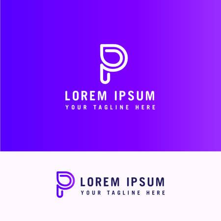 logo letter p line with minimalist style. Ilustração