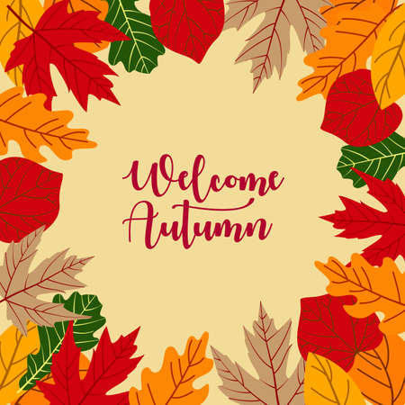 Autumn background with leaves and lettering hello fall. Fall vector background in trendy style. Seasonal banner or greeting card for autumn discounts, promotions or invitation.