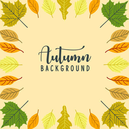 Autumn frame background for advertisement, promotion,banner and poster,botanical seasonal fallen leaves isolated on white background,flat design style,vector illustration. Ilustração