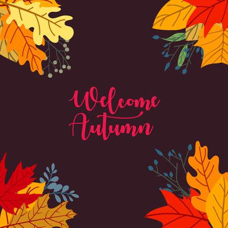 Autumn sale concept design with flat leaves background Ilustração
