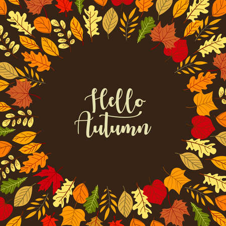 4 Frames with autumn leaves in yellow, red and orange colors. Wreaths in decorative style.