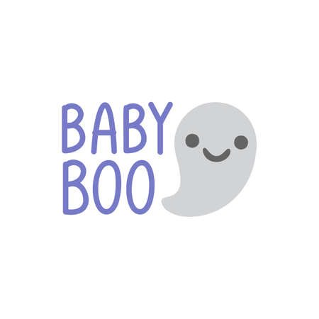 Hand drawn vector illustration of a kawaii funny ghosts, with text Happy Halloween, Boo, Trick or treat in speech bubbles. Isolated objects. Line drawing. Design concept for print, card, invitation. Ilustração
