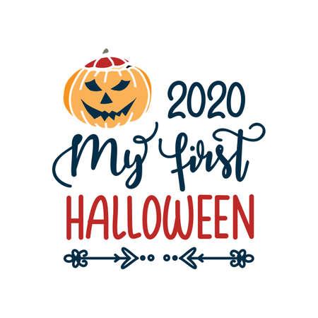 My first Halloween design card isolated on white background Ilustração