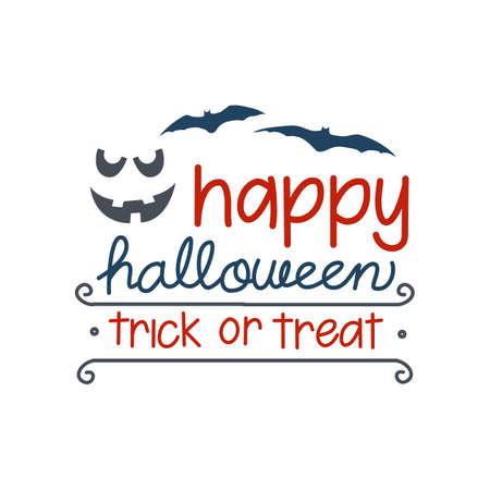Happy halloween. Vector halloween emblem with horror pumpkins and bats