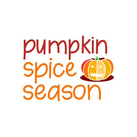 Hand drawn harvest illustration. Vector autumn drawing food. Cartoon Pumpkin Spice and text about Fall