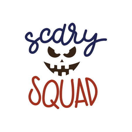 Scary Squad Halloween Party Poster with Handwritten Ink Lettering and Pumpkin silhouette. Modern Calligraphy. Design Element for Party Invitations, Stickers, Gift Cards. Vector illustration Ilustração