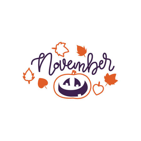 Autumn lettering calligraphy phrase - Hello november. Invitation Card with hand drawn pumpkin in sketch style. Hand made motivation quote. Sketch, Vector design Ilustração