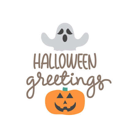 vector greeting with pumpkin image for halloween