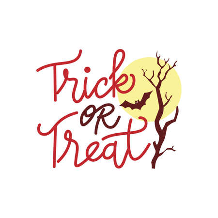 Trick or treat handwritten halloween greeting card