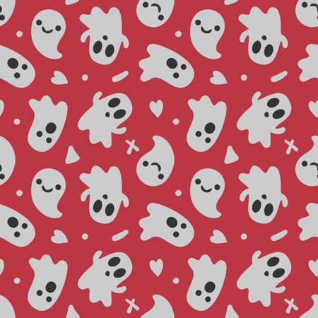 Halloween background. Seamless pattern of cute cartoon ghosts with different faces.