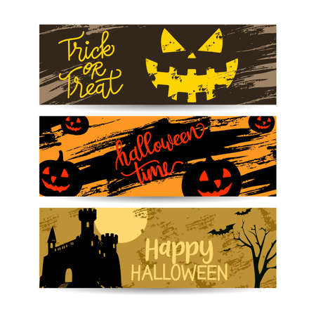 set banners of halloween sale with decoration vector illustration design