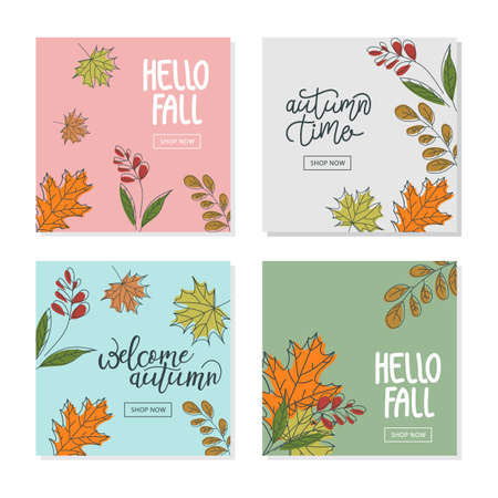 Set trendy abstract square banner templates with floral elements. Suitable for social media posts, mobile apps, banners design and web/internet ads.Gentle pastel colors.