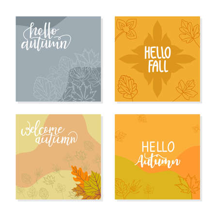 Trendy abstract square template with autumn concept. Able to use for social media posts, mobile apps, banners design, web or internet ads.