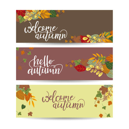Vector set of autumn banners. Three templates for your design. Various bright fall leaves and hand-lettering. There are places for your text on white area. 向量圖像