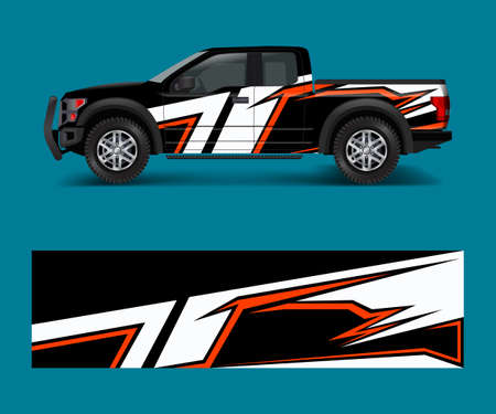 Racing graphic background vector for Truck, Pickup and vehicle branding. vinyl and wrap design vector