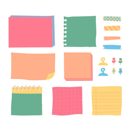 Copybook linear pages lists of notebooks different sizes. Paper banners with notes set attached with sticky colorful tape on grey background isolated realistic vector illustration.