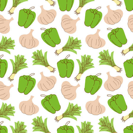 Seamless pattern with garlic, peppers, lemongrass on a white background. Vector illustration of ingredients for food background in a flat doodle style. Illusztráció