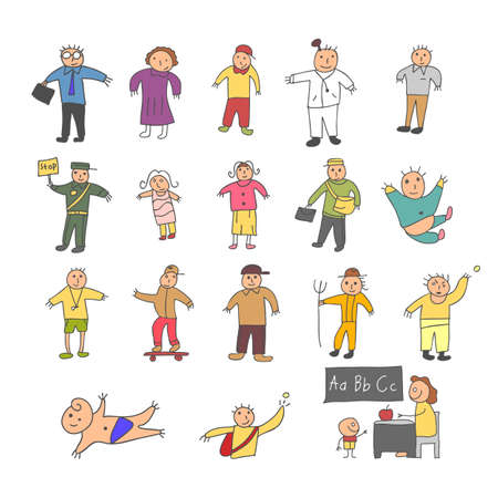 set of element person cartoon doodle colorful. The element hand drawn of peoples in the parks, Vector Illustration doodle style.
