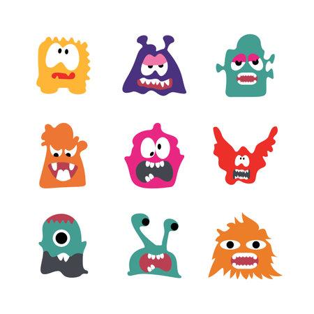 Cute Cartoon Monsters illustration. Flat vector collection. Collection of cute, colorful cartoon monsters. Vector illustration. Flat design.