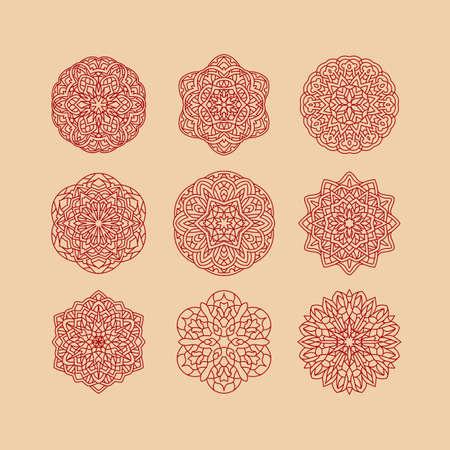 Mandala set. Vintage decorative elements. Hand drawn background. Islam, Arabic, Indian, ottoman motifs.