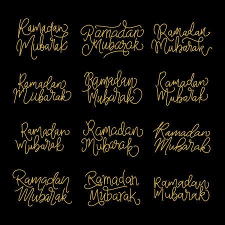 Set vector handwritten calligraphic inscriptions Ramadan Mubarak . line lettering, modern calligraphy. Hand drawn elements.