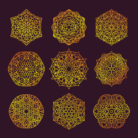 Set Pattern geometric gold logo. Vector decorative Arabic characters Illusztráció