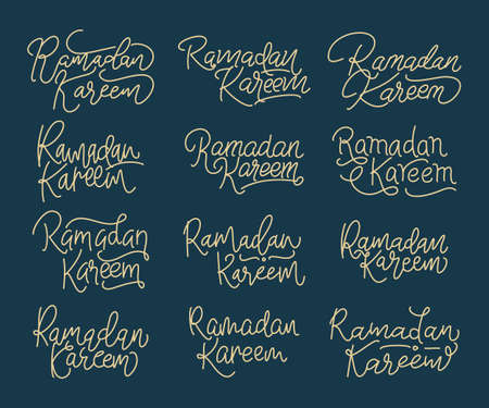 Collection of Ramadan Kareem modern calligraphy isolated on white background. Handwritten lettering. Hand drawn vector design elements. Muslim holy month.