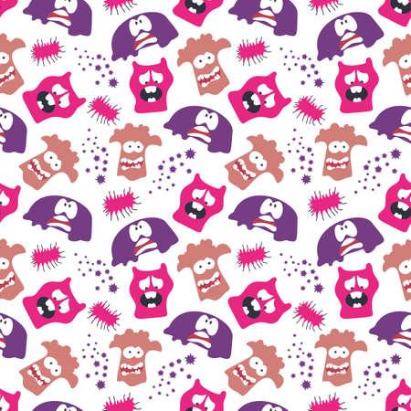 seamless pattern with monsters vector illustration Illusztráció