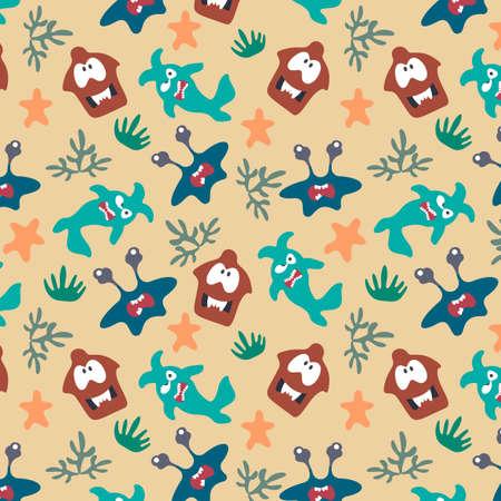 Seamless pattern with cute color monsters Illusztráció