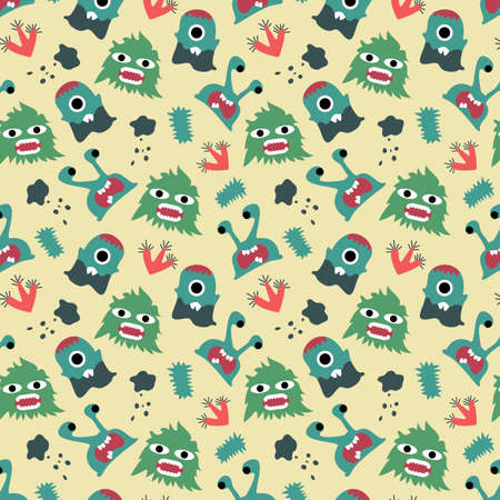 monster seamless pattern design. vector illustration