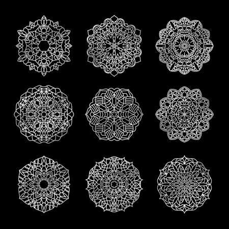 Ornament round set with mandala with arabic style ornament vector illustration Illusztráció