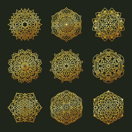 Set Pattern geometric gold logo. Vector decorative Arabic characters Stock Illustratie