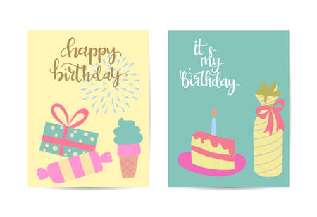 vector illustration of set of colorful gift with birthday banner