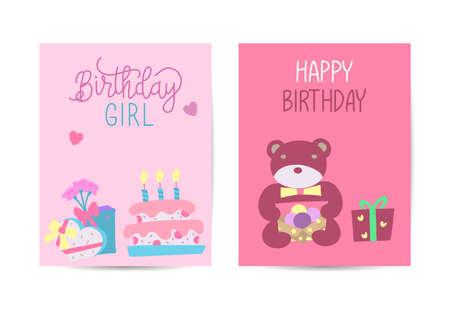 Set of birthday greeting cards design. Celebration and event background. Vector illustration.
