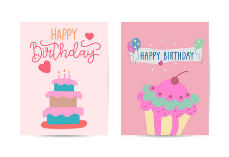Birthday cards set Vector with cake illustration