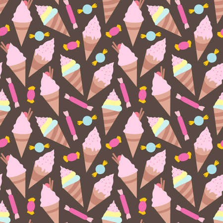 Ice creams seamless pattern eps10 vector illustration Stock Illustratie
