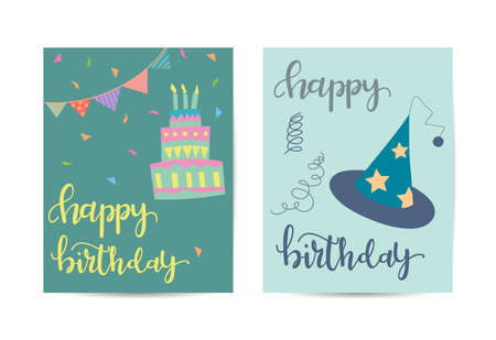 Birthday greeting card. Template with birthday elements. Stock Illustratie