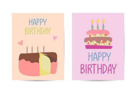 Set of birthday card design templates. Hand drawn cartoon vector sketch illustration with greetings Stock Illustratie