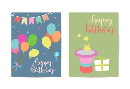 Greeting card happy birthday. Two variants of different color. Celebration and event background. Vector illustration.