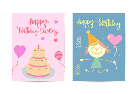 Birthday party brochure templates set. Flayer, booklet, leaflet concept with flat illustrations. Anniversary celebration invitation with text space