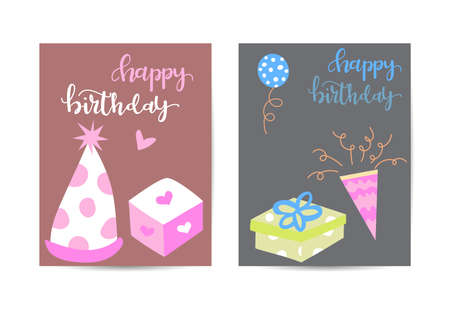 birthday greeting and invitation card. there are teddy bear, gift boxes, confetti, cup cake. layout template in A4 size. vector illustration